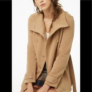 Forever 21 Fleece Double-Breasted Peacoat Small